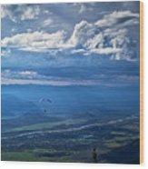 Paragliding Above Jackson Hole Wood Print