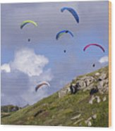 Paragliding Over Sennen Cove Wood Print