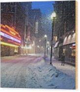 Paramount Snowstorm Boston Ma Washington Street Wood Print
