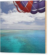 Parasail Over Fiji Wood Print