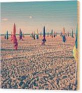 Parasols Of Deauville Wood Print