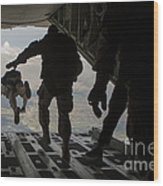 Paratroopers Jump Out Of A Kc-130j Wood Print