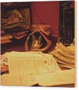 Parcel Cat Wood Print