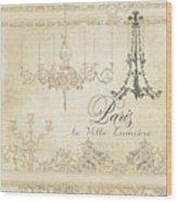 Parchment Paris - City Of Light Chandelier Candelabra Chalk Wood Print