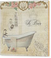 Parchment Paris - Le Bain Or The Bath Chandelier And Tub With Roses Wood Print