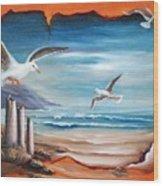 Parchment Seascape Wood Print by Joni McPherson