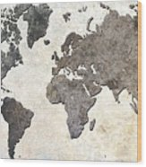 Parchment World Map Wood Print