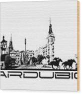 Pardubice Skyline City Black Wood Print