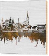 Pardubice Skyline City Brown Wood Print