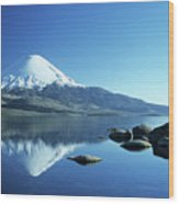 Parinacota Volcano Reflections Chile Wood Print