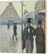Paris A Rainy Day - Gustave Caillebotte Wood Print