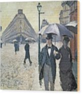 Paris A Rainy Day Wood Print by Gustave Caillebotte