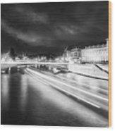 Paris At Night 19 Bw Art  Wood Print