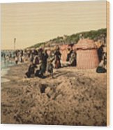 Trouville France Beach - The Good Old Days Wood Print
