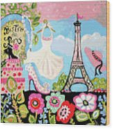 Paris Bistro Dress  Wood Print by Karen Fields