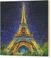 Paris By Night Wood Print