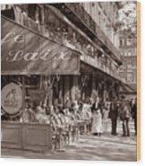 Paris Cafe 1935 Sepia Wood Print