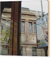 Paris Cafe Views Reflections Wood Print