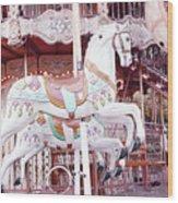 Paris Carousel Horses - Shabby Chic Paris Carousel Horse Merry Go Round Wood Print