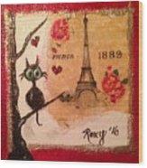 Paris Cat  Wood Print