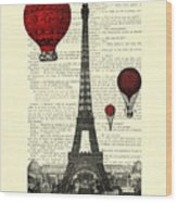 Paris, City Of Love Wood Print