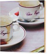 Paris Coffee Cups Wood Print