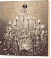 Paris Dreamy Golden Sepia Sparkling Elegant Opulent Chandelier Fine Art Wood Print by Kathy Fornal