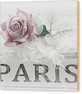 Paris Dreamy Pastel Pink Roses On Paris Book - Romantic Paris Roses And Books Shabby Chic Art Wood Print