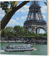 Paris Eiffel Boat Wood Print
