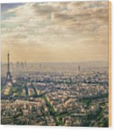 Paris Eiffel Skyline And Cityscape Aerial View At Sunset From Montparnasse Tower Observation Deck  Wood Print