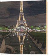 Paris Eiffel Tower Dazzling At Night Wood Print