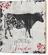 Paris Farm Sign Cow Wood Print