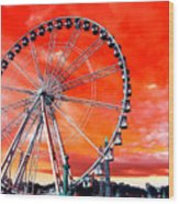 Paris Ferris Wheel Pop Art 2012 Wood Print