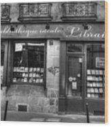 Paris France Book Store Library Black And White Wood Print
