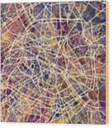 Paris France City Street Map Wood Print