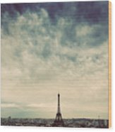 Paris, France Skyline With Eiffel Tower. Dark Clouds, Vintage Wood Print