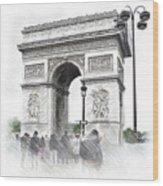 Paris, France  Triumphal Arch  Illustration Wood Print