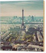 Paris, France Vintage Skyline, Panorama. Eiffel Tower, Champ De Mars Wood Print