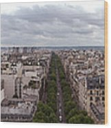 Paris From The Arch De Triumph Wood Print