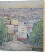 Paris From The Basilique Du Sacre Coeur Montmartre France 2003  Wood Print