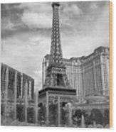 Paris Hotel - Las Vegas B-w Wood Print