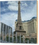 Paris Hotel And Bellagio Fountains Wood Print