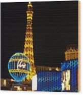 Paris Hotel At Night Wood Print