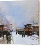 Paris In Winter Wood Print by Luigi Loir