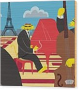 Paris Kats - The Coolkats Wood Print by Darryl Glenn Daniels