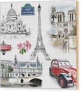 Paris Landmarks. Illustration In Draw, Sketch Style.  Wood Print
