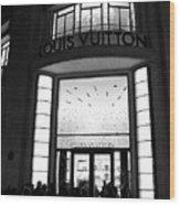 Paris Louis Vuitton Boutique - Louis Vuitton Paris Black And White Art Deco Wood Print