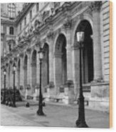 Paris Louvre Black And White Architecture - Louvre Lantern Lights Wood Print