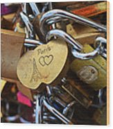 Paris Love Locks Paris France Color Wood Print