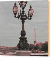 Paris Luminaires And Eiffel Tower Wood Print
